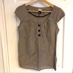 H&M | Silk Blend Tan Blouse w Black Buttons | S